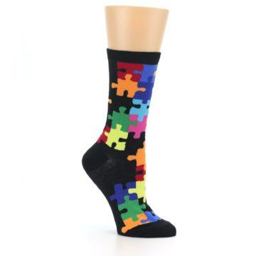 Image of Black Multi Puzzle Women's Dress Socks (side-1-26)