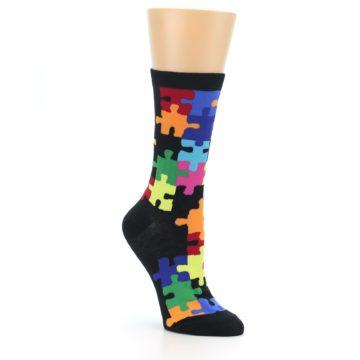 Image of Black Multi Puzzle Women's Dress Socks (side-1-27)