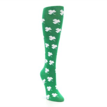 Image of Green Shamrock Clover Women's Knee High Socks (side-1-front-02)