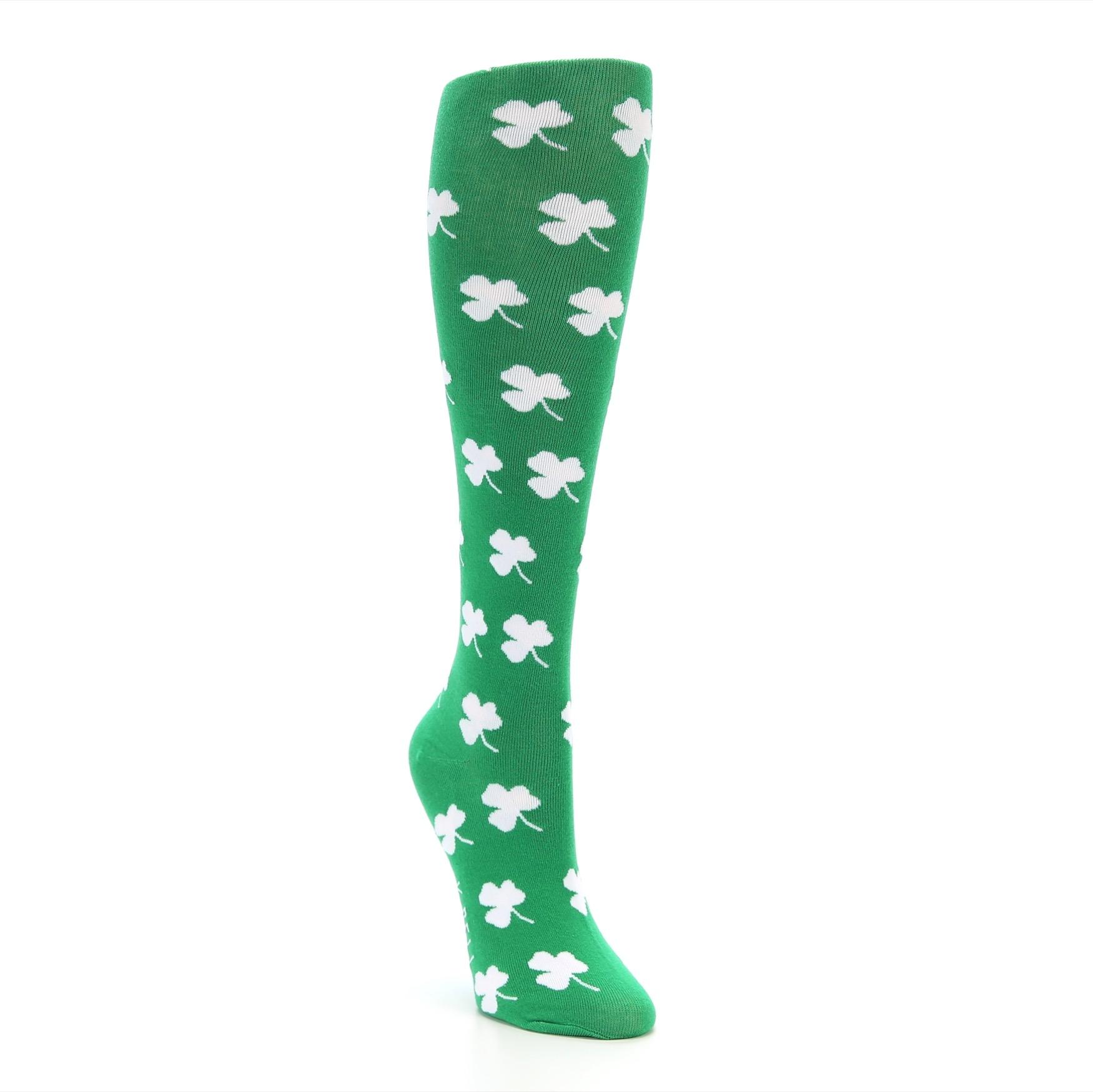 3114013b Green Shamrock Clover Women's Knee High Socks - K. Bell Socks