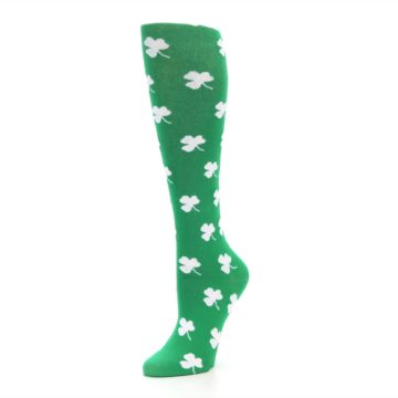 Image of Green Shamrock Clover Women's Knee High Socks (side-2-09)