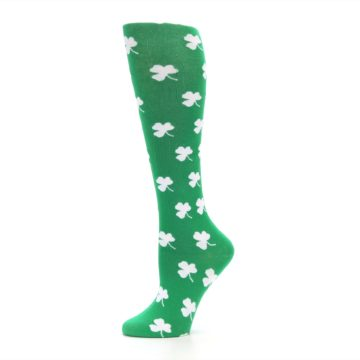 Image of Green Shamrock Clover Women's Knee High Socks (side-2-11)
