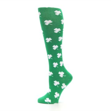 Image of Green Shamrock Clover Women's Knee High Socks (side-2-12)