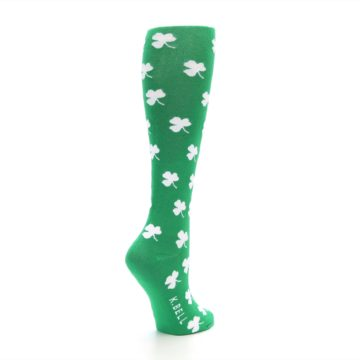 Image of Green Shamrock Clover Women's Knee High Socks (side-1-back-22)