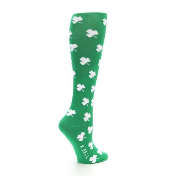Image of Green Shamrock Clover Women's Knee High Socks (side-1-23)