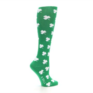 Image of Green Shamrock Clover Women's Knee High Socks (side-1-24)