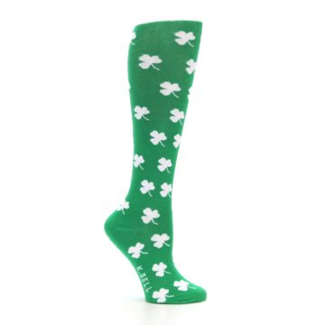 Image of Green Shamrock Clover Women's Knee High Socks (side-1-25)