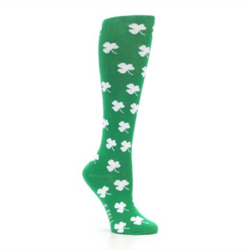 Image of Green Shamrock Clover Women's Knee High Socks (side-1-26)