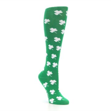 Image of Green Shamrock Clover Women's Knee High Socks (side-1-27)