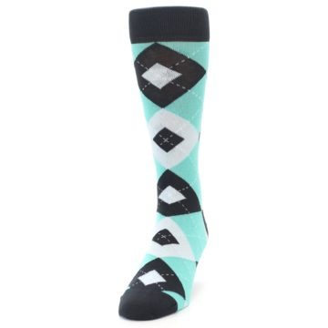Image of Spa Green Gray Argyle Men's Dress Socks (side-2-front-06)
