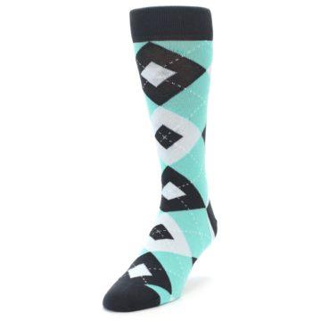 Image of Spa Green Gray Argyle Men's Dress Socks (side-2-front-07)
