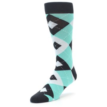 Image of Spa Green Gray Argyle Men's Dress Socks (side-2-front-08)
