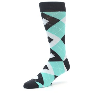 Image of Spa Green Gray Argyle Men's Dress Socks (side-2-09)