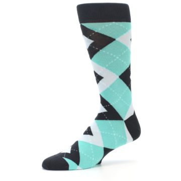 Image of Spa Green Gray Argyle Men's Dress Socks (side-2-10)