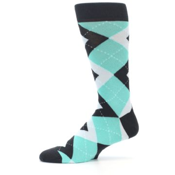 Image of Spa Green Gray Argyle Men's Dress Socks (side-2-11)