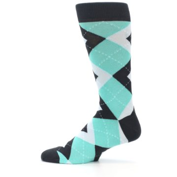 Image of Spa Green Gray Argyle Men's Dress Socks (side-2-12)
