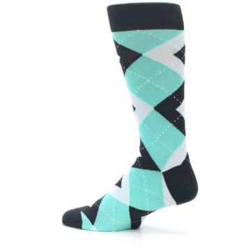 Image of Spa Green Gray Argyle Men's Dress Socks (side-2-13)