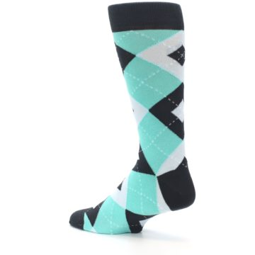 Image of Spa Green Gray Argyle Men's Dress Socks (side-2-back-14)