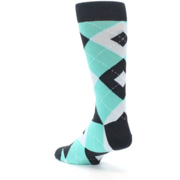 Image of Spa Green Gray Argyle Men's Dress Socks (side-2-back-15)