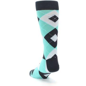 Image of Spa Green Gray Argyle Men's Dress Socks (side-2-back-16)