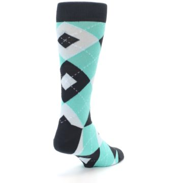 Image of Spa Green Gray Argyle Men's Dress Socks (side-1-back-21)