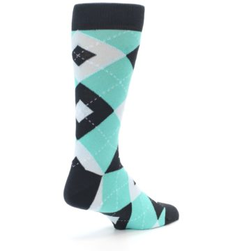 Image of Spa Green Gray Argyle Men's Dress Socks (side-1-back-22)