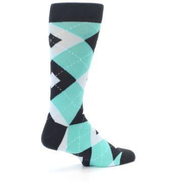 Image of Spa Green Gray Argyle Men's Dress Socks (side-1-23)