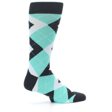 Image of Spa Green Gray Argyle Men's Dress Socks (side-1-24)