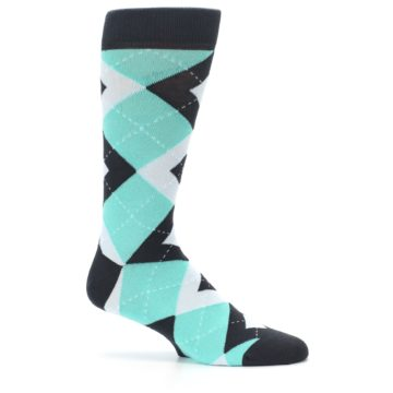 Image of Spa Green Gray Argyle Men's Dress Socks (side-1-25)
