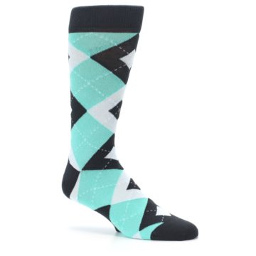 Image of Spa Green Gray Argyle Men's Dress Socks (side-1-26)