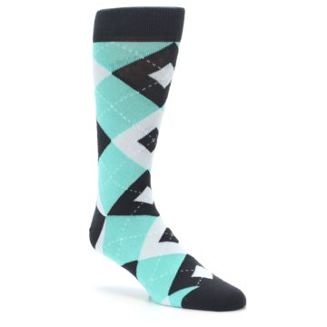 Image of Spa Green Gray Argyle Men's Dress Socks (side-1-27)