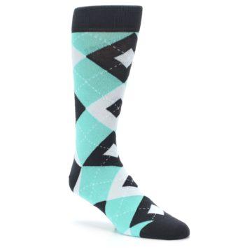 Image of Spa Green Gray Argyle Men's Dress Socks (side-1-27)