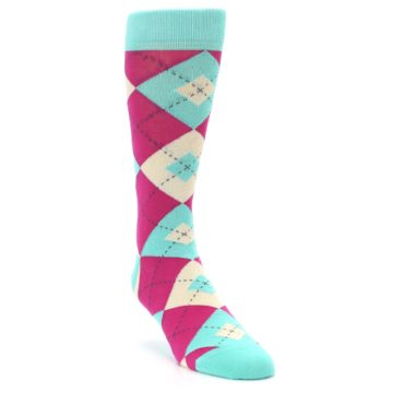 Image of Spa Green Fuchsia Argyle Wedding Groomsmen Men's Dress Socks (side-1-front-02)