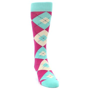 Image of Spa Green Fuchsia Argyle Wedding Groomsmen Men's Dress Socks (side-1-front-03)