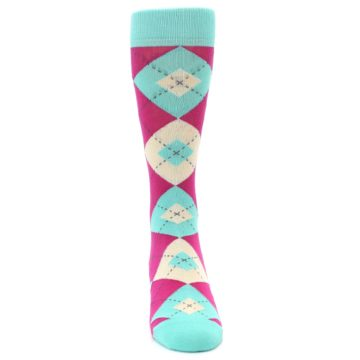 Image of Spa Green Fuchsia Argyle Wedding Groomsmen Men's Dress Socks (front-04)