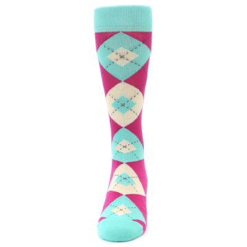 Image of Spa Green Fuchsia Argyle Wedding Groomsmen Men's Dress Socks (front-05)