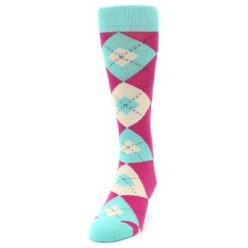 Image of Spa Green Fuchsia Argyle Wedding Groomsmen Men's Dress Socks (side-2-front-06)