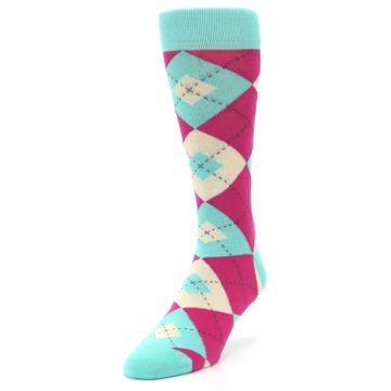 Image of Spa Green Fuchsia Argyle Wedding Groomsmen Men's Dress Socks (side-2-front-07)