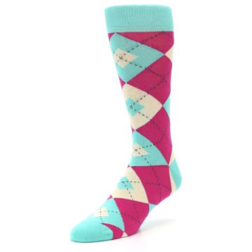 Image of Spa Green Fuchsia Argyle Wedding Groomsmen Men's Dress Socks (side-2-front-08)