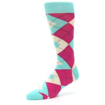 Image of Spa Green Fuchsia Argyle Wedding Groomsmen Men's Dress Socks (side-2-09)