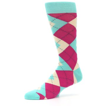 Image of Spa Green Fuchsia Argyle Wedding Groomsmen Men's Dress Socks (side-2-10)