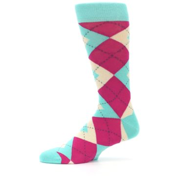 Image of Spa Green Fuchsia Argyle Wedding Groomsmen Men's Dress Socks (side-2-11)