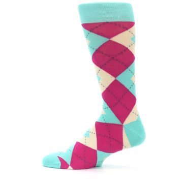 Image of Spa Green Fuchsia Argyle Wedding Groomsmen Men's Dress Socks (side-2-12)