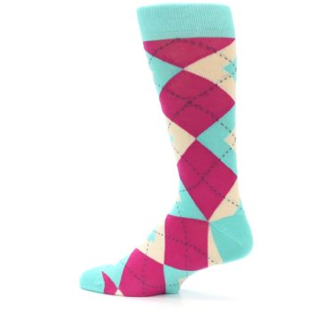 Image of Spa Green Fuchsia Argyle Wedding Groomsmen Men's Dress Socks (side-2-13)