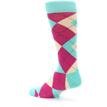 Image of Spa Green Fuchsia Argyle Wedding Groomsmen Men's Dress Socks (side-2-back-14)