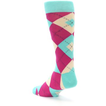 Image of Spa Green Fuchsia Argyle Wedding Groomsmen Men's Dress Socks (side-2-back-15)