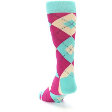 Image of Spa Green Fuchsia Argyle Wedding Groomsmen Men's Dress Socks (side-2-back-16)