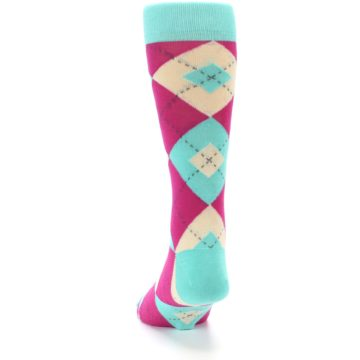Image of Spa Green Fuchsia Argyle Wedding Groomsmen Men's Dress Socks (back-17)