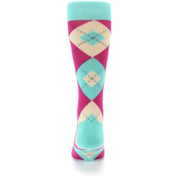 Image of Spa Green Fuchsia Argyle Wedding Groomsmen Men's Dress Socks (back-18)