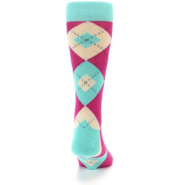 Image of Spa Green Fuchsia Argyle Wedding Groomsmen Men's Dress Socks (back-19)